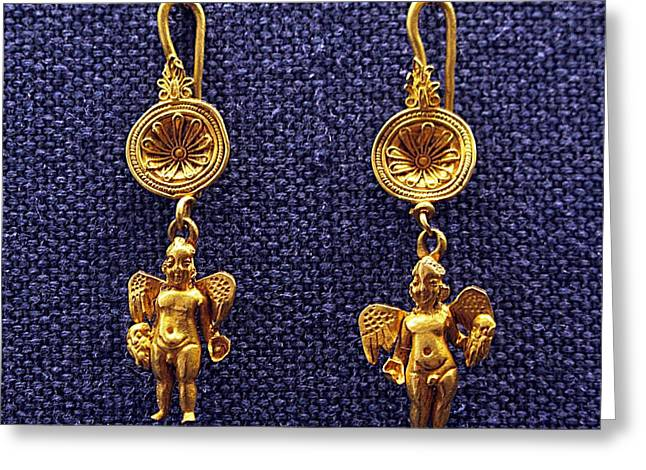 Gold Earrings Greeting Cards - Winged Erotes Greeting Card by Andonis Katanos
