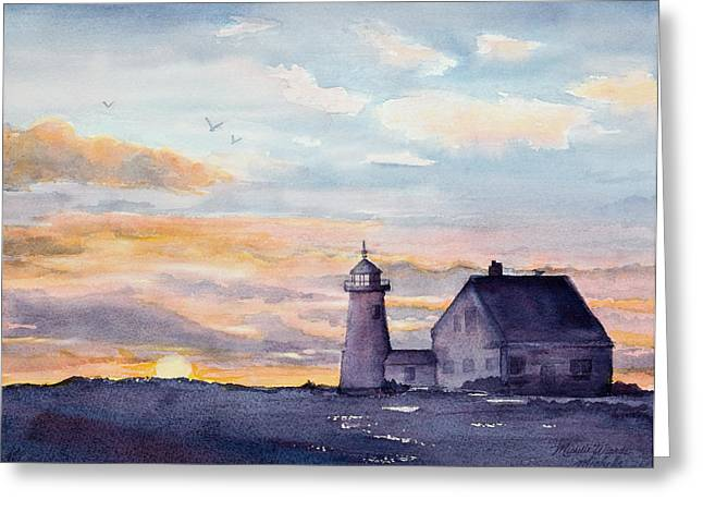 Keepers House Greeting Cards - Wings Neck Lighthouse Bourne Massachusetts Watercolor Greeting Card by Michelle Wiarda