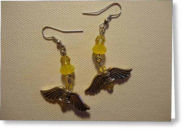 Fashion Jewelry Greeting Cards - Wings of an Angel Earrings Greeting Card by Jenna Green