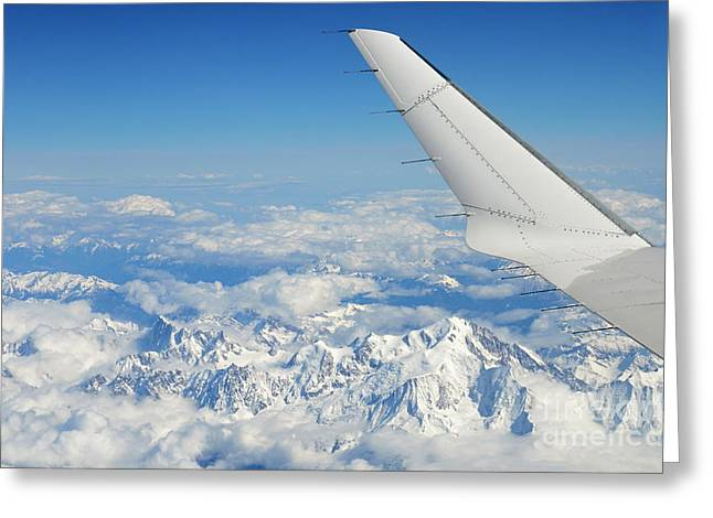 Getting Air Greeting Cards - Wings of flying airplane over French Alps Greeting Card by Sami Sarkis