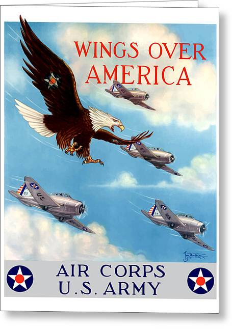 World War 2 Greeting Cards - Wings Over America Greeting Card by War Is Hell Store