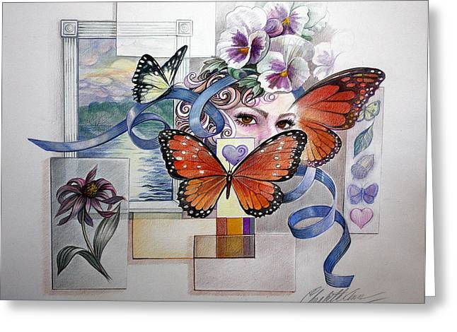 Wings With Hearts Greeting Card by Elizabeth Shafer