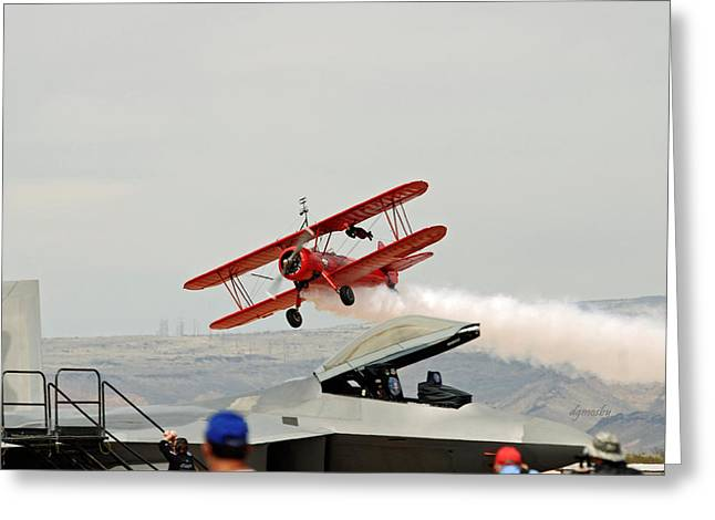 Take Over Greeting Cards - Wingwalker take-off 7850 Greeting Card by David Mosby