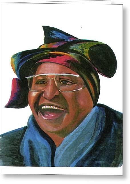Politician�s Wives Greeting Cards - Winnie Madikizela Mandela Greeting Card by Emmanuel Baliyanga