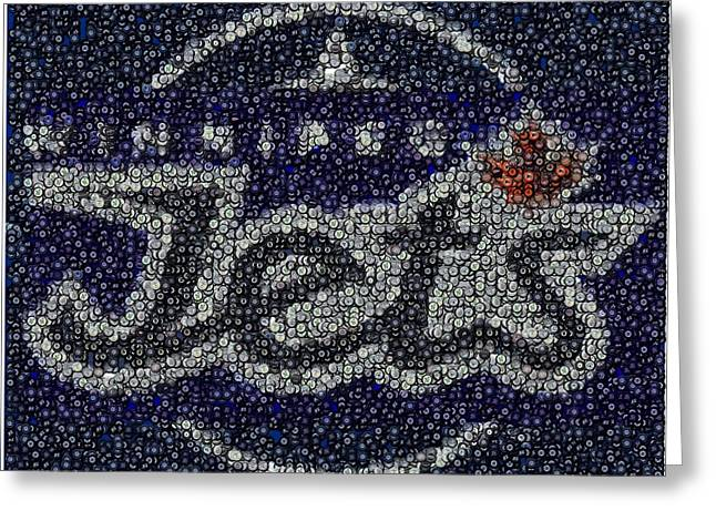Winnipeg Jets Puck Mosaic Greeting Card by Paul Van Scott