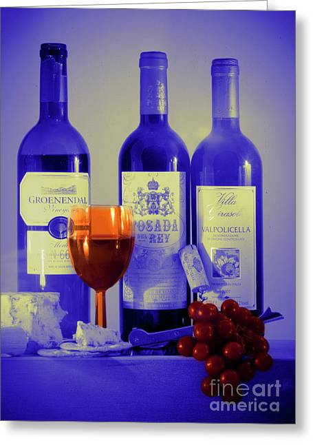 Blue Grapes Greeting Cards - Winsome Wine Greeting Card by Donald Davis