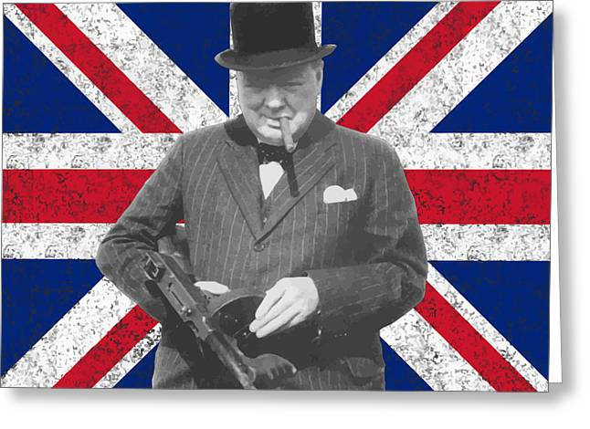 Orator Greeting Cards - Winston Churchill and His Flag Greeting Card by War Is Hell Store
