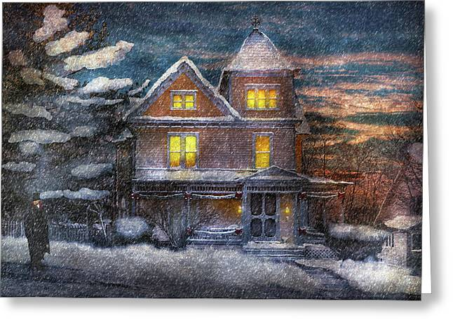 Customizable Greeting Cards - Winter - Clinton NJ - A Victorian Christmas  Greeting Card by Mike Savad