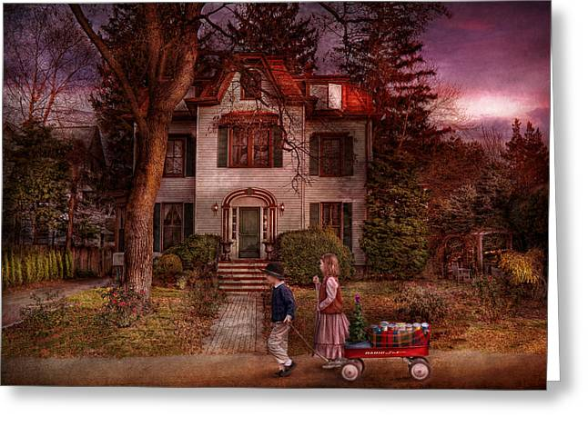 Winter - Metuchen Nj -  Feed The Poor Greeting Card by Mike Savad