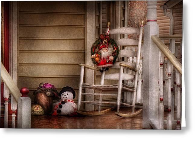Rocking Chairs Greeting Cards - Winter - Metuchen NJ - Waiting for Santa  Greeting Card by Mike Savad
