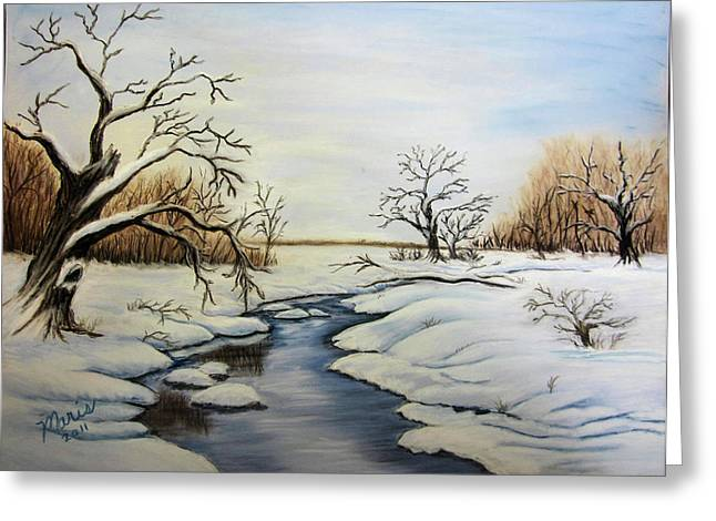 Snow Scene Landscape Pastels Greeting Cards - Winter 2011 Greeting Card by Maris Sherwood