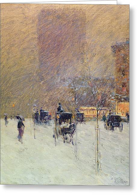 Winter Greeting Cards - Winter Afternoon in New York Greeting Card by Childe Hassam