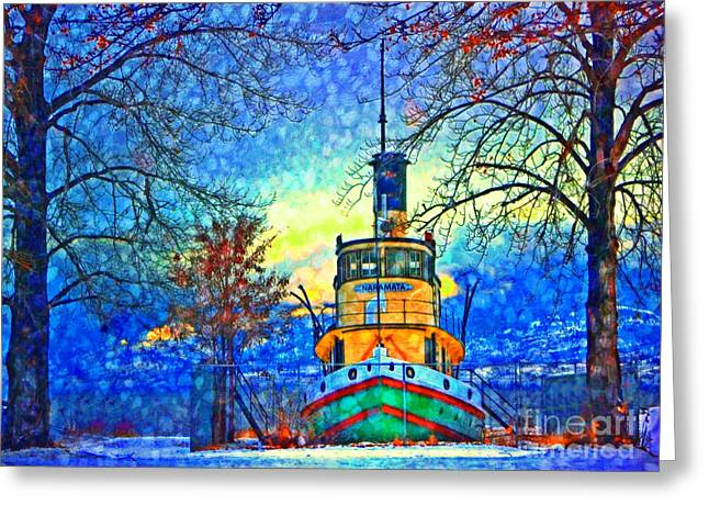 Tara Turner Greeting Cards - Winter and the Tug Boat 2 Greeting Card by Tara Turner