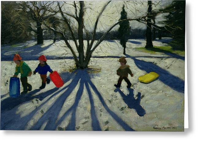 Sledge Greeting Cards - Winter Greeting Card by Andrew Macara