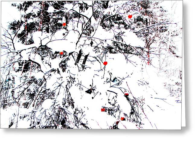 Apple Pyrography Greeting Cards - Winter Apple Greeting Card by Yury Bashkin
