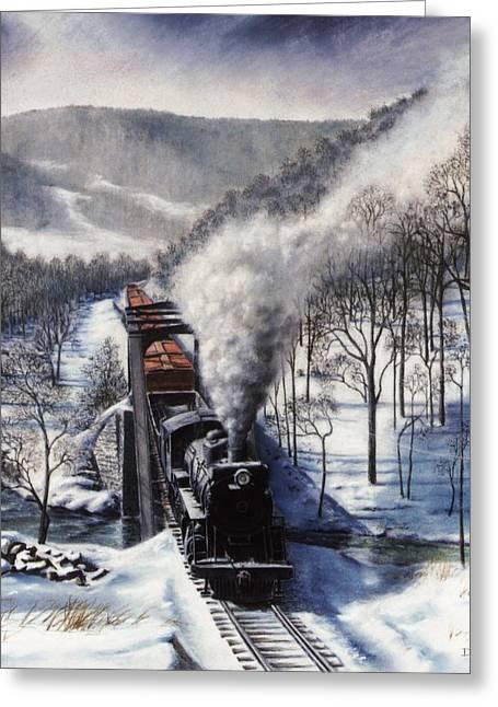 Ma.. Drawings Greeting Cards - Winter at Deer Creek Greeting Card by David Mittner