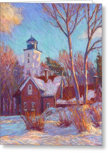Snowed Trees Pastels Greeting Cards - Winter at the lighthouse Greeting Card by Michael Camp