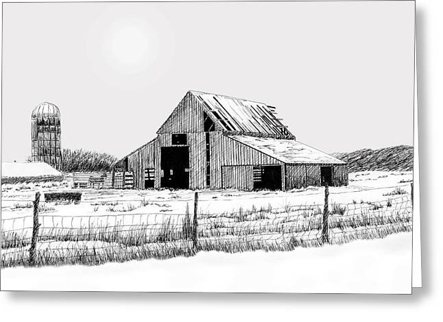 Barn Pen And Ink Greeting Cards - Winter Barn Greeting Card by Lyle Brown