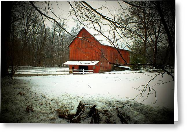 Indiana Winters Greeting Cards - Winter Barn Greeting Card by Michael L Kimble