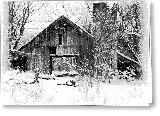 Winter Photos Paintings Greeting Cards - Winter Barn Greeting Card by Ryan Burton