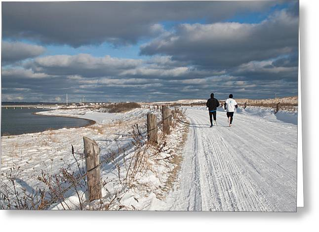 Runner Greeting Cards - Winter Beach Joggers Greeting Card by Susan OBrien