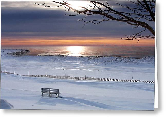 Snow Drifts Greeting Cards - Winter Beach Morning Greeting Card by Bill Pevlor
