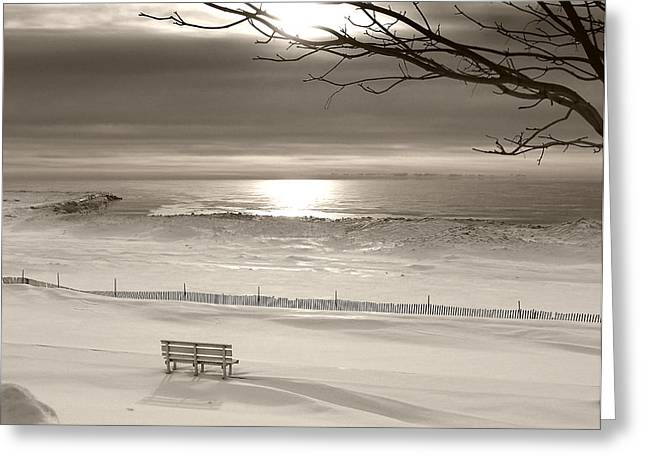 Snow Drifts Greeting Cards - Winter Beach Morning BW Greeting Card by Bill Pevlor