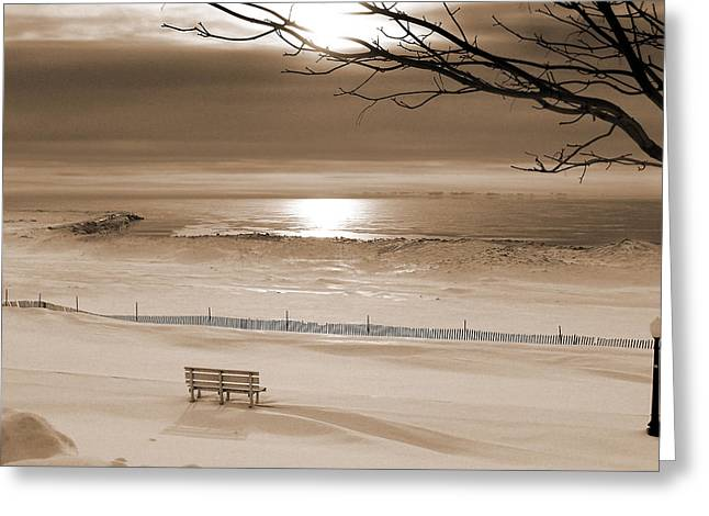 Snow Drifts Greeting Cards - Winter Beach Morning sepia Greeting Card by Bill Pevlor