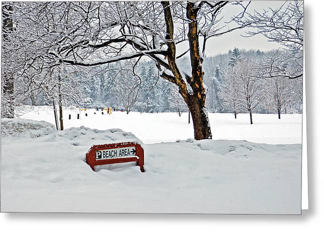 Winter Beach Sign Greeting Card by Aimee L Maher Photography and Art