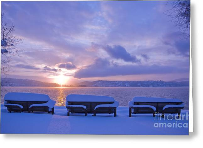 Scenic Idaho Greeting Cards - Winter Benches Greeting Card by Idaho Scenic Images Linda Lantzy