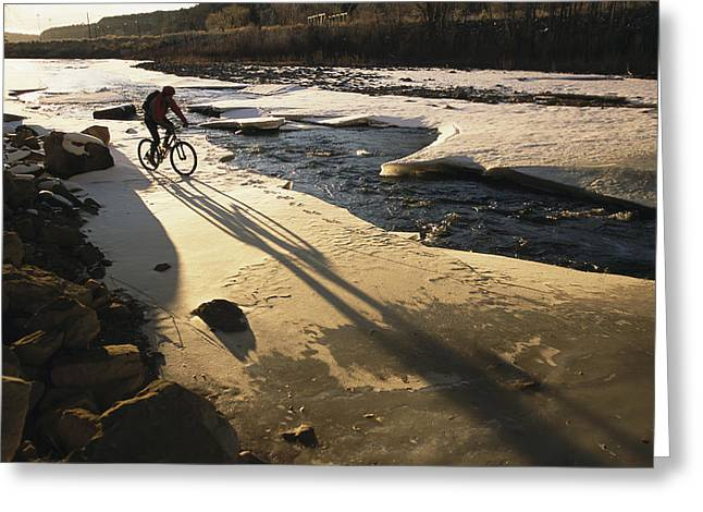 Model Colorado Greeting Cards - Winter Bicycling On The Partially Greeting Card by Kate Thompson