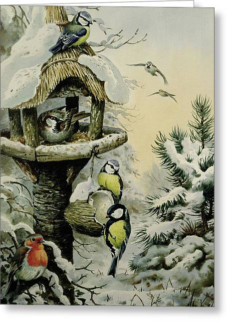 Birdhouses Greeting Cards - Winter Bird Table with Blue Tits Greeting Card by Carl Donner
