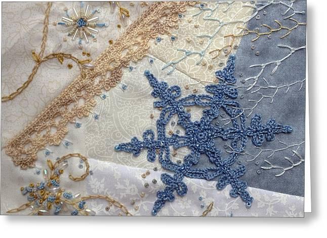 White Tapestries - Textiles Greeting Cards - Winter Block #3 Greeting Card by Masha Novoselova