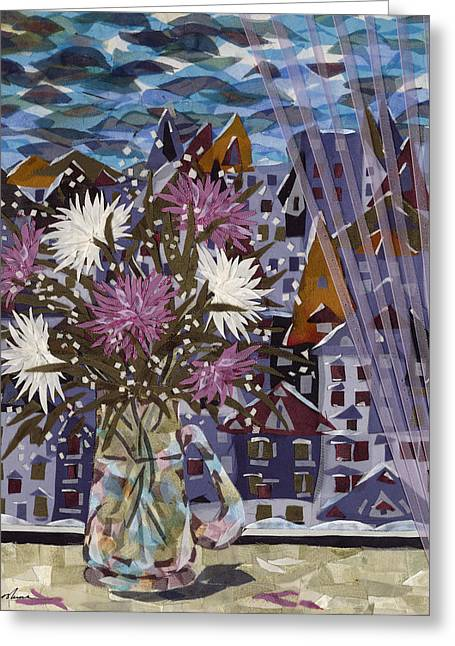 Flower Still Life Tapestries - Textiles Greeting Cards - Winter Bouquet Greeting Card by Marina Gershman