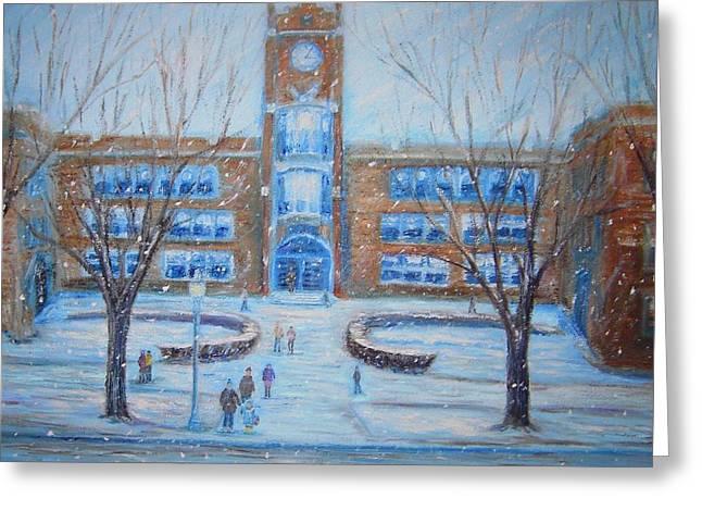 Brick Schools Paintings Greeting Cards - Winter Break Greeting Card by Daniel W Green