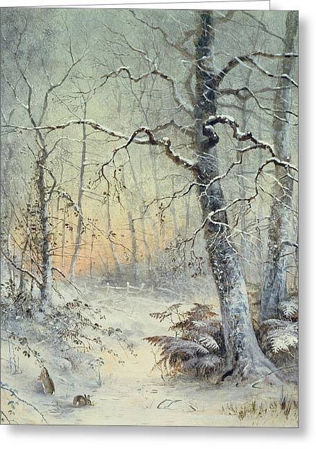 Snowy Tree Greeting Cards - Winter Breakfast Greeting Card by Joseph Farquharson