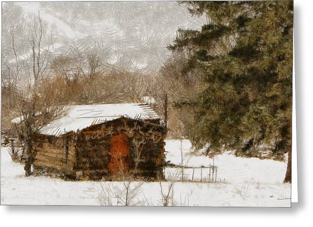 Log Cabins Greeting Cards - Winter Cabin 2 Greeting Card by Ernie Echols