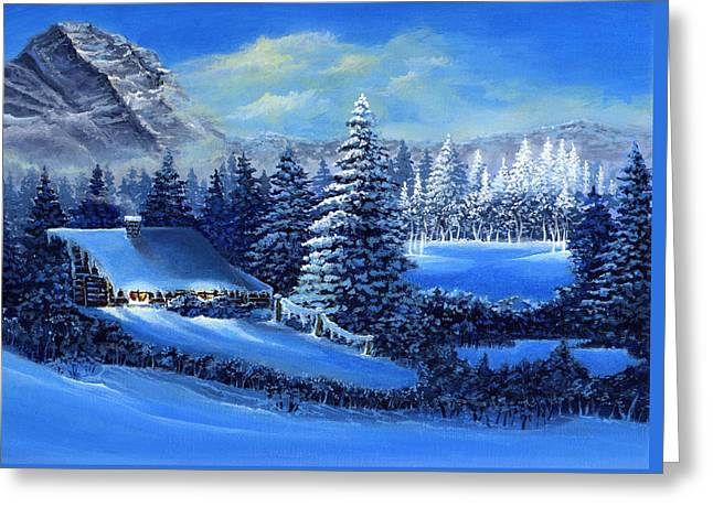 Winter Cabin Greeting Card by Bonnie Cook