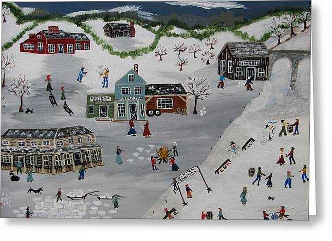 Etc. Paintings Greeting Cards - Winter Carnival Greeting Card by Lee Gray