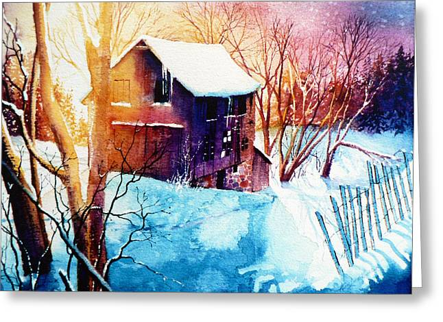 Canadian Winter Art Greeting Cards - Winter Color Greeting Card by Hanne Lore Koehler