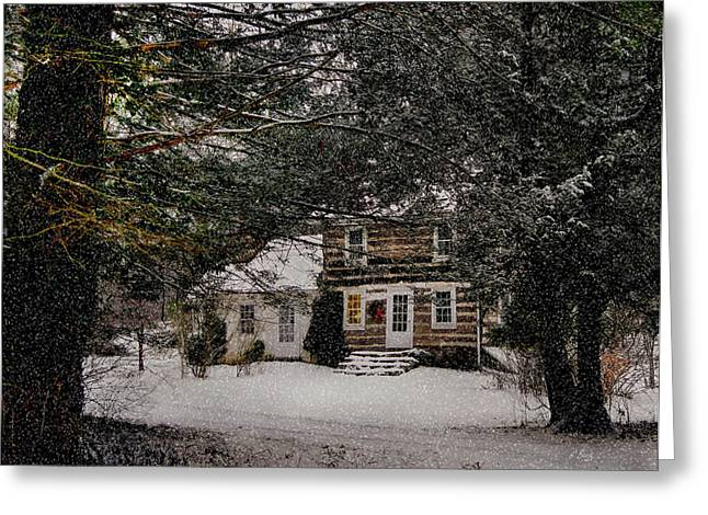 Country Cottage Mixed Media Greeting Cards - Winter Cottage Greeting Card by Gordon Beck