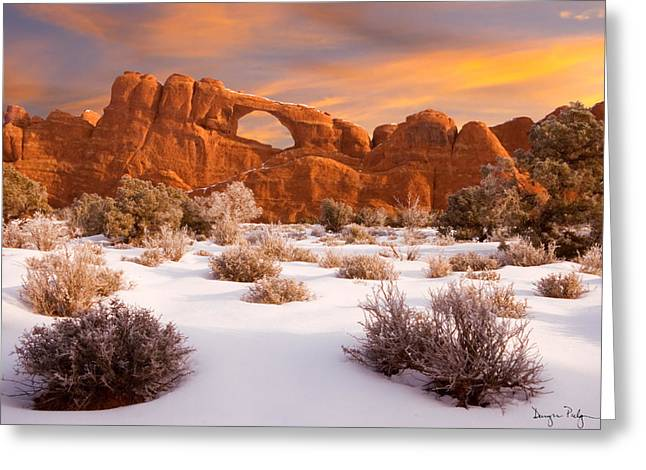Skyline Arch Greeting Cards - Winter Dawn at Arches National Park Greeting Card by Utah Images