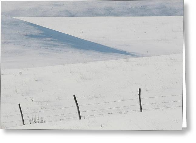 Barbed Wire Fences Greeting Cards - Winter day on the Prairies Greeting Card by Mark Duffy