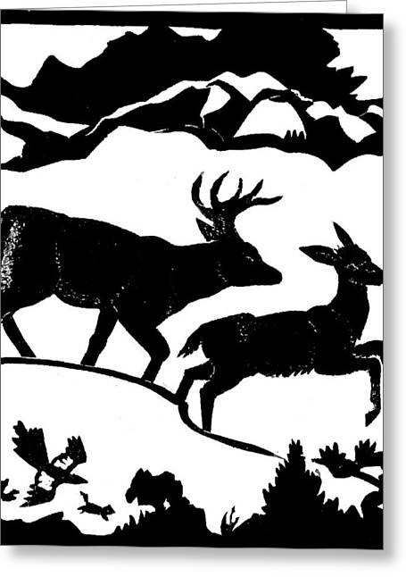 Magpies. Snow Greeting Cards - Winter Deer linoleum demo for students Greeting Card by Dawn Senior-Trask