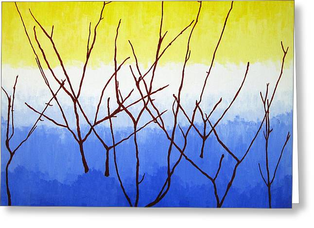 Wow Paintings Greeting Cards - Winter Dogwood Greeting Card by Oliver Johnston