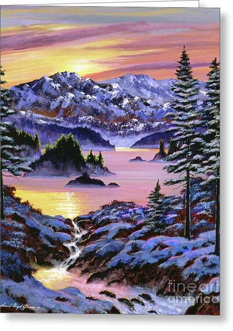 Snow Capped Mountains Greeting Cards - Winter Dreams Greeting Card by David Lloyd Glover