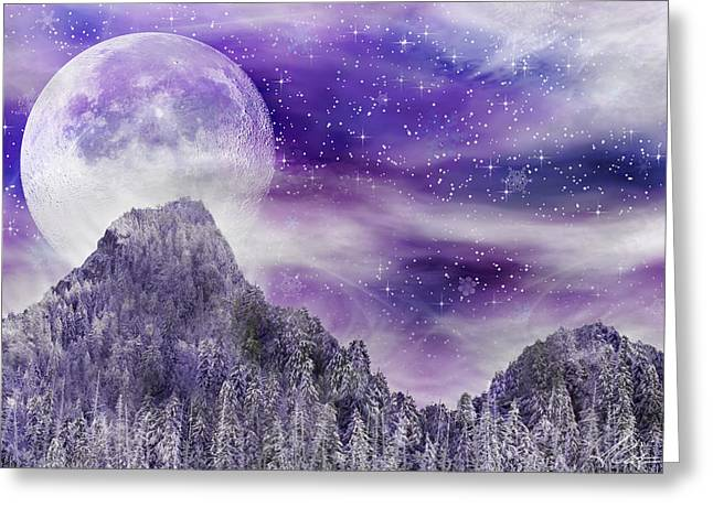 Snowy Night Mixed Media Greeting Cards - Winter Dreamscape Greeting Card by Anthony Citro