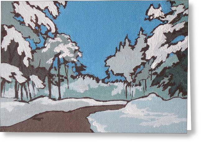 Snow Drifts Paintings Greeting Cards - Winter Drive Greeting Card by Sandy Tracey