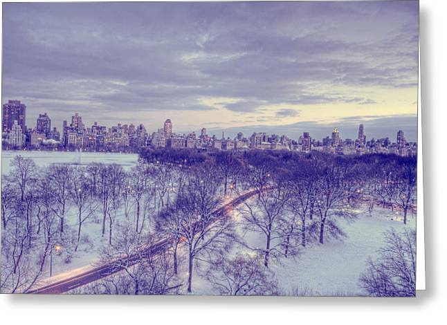 Central Park Winter Greeting Cards - Winter Dusk in New York Greeting Card by Ariane Moshayedi