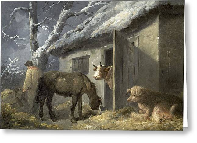 Winters Greeting Cards - Winter Farmyard Greeting Card by George Morland